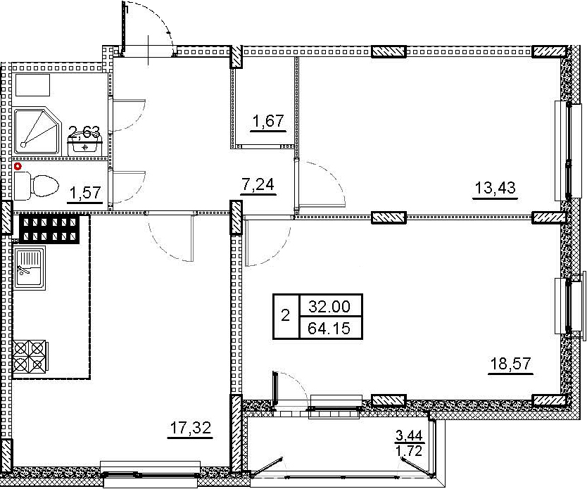 3-к.кв (евро), 65.87 м²