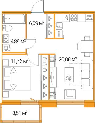 2Е-к.кв, 42.82 м²
