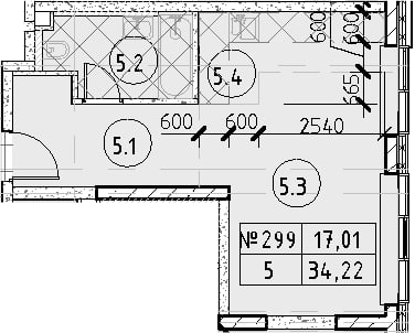 Студия, 34.22 м², 33 этаж