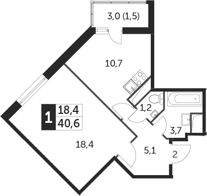 1-к.кв, 40.3 м², от 8 этажа