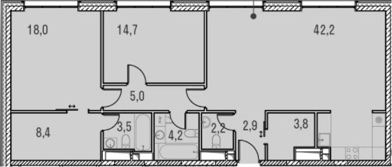 3Е-комнатная, 104.9 м²– 2