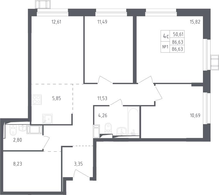 4Е-к.кв, 86.63 м², 14 этаж