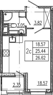 Студия, 25.44 м²– 2