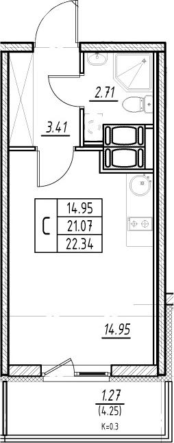 Студия, 21.07 м², 16 этаж