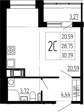 Студия, 32.02 м²