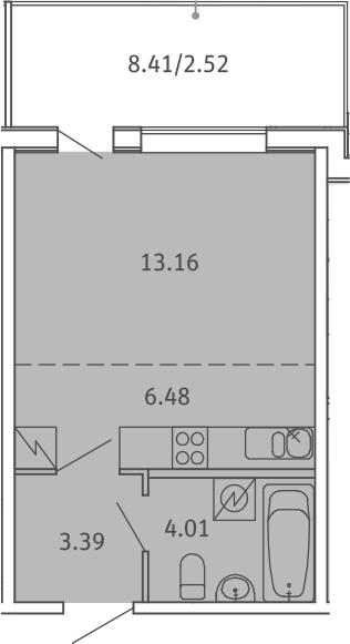 Студия, 29.56 м², 5 этаж