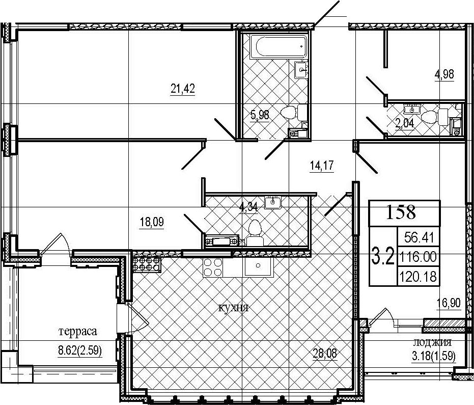 4Е-к.кв, 120.18 м², 8 этаж