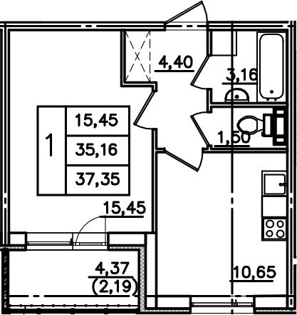 1-комнатная, 37.35 м²– 2