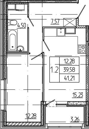 2Е-комнатная, 39.58 м²– 2