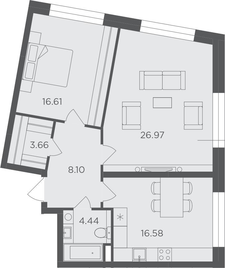 2-комнатная, 76.36 м²– 2
