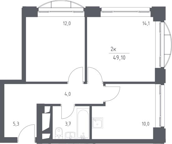 2-комнатная квартира, 49.1 м², 4 этаж – Планировка