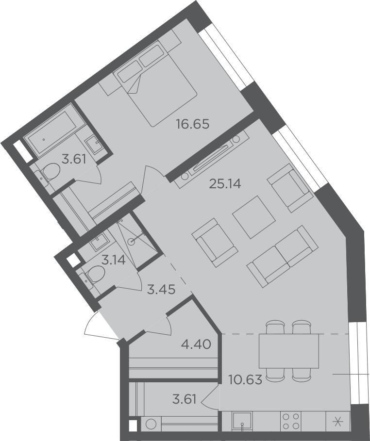 2-к.кв (евро), 70.63 м²