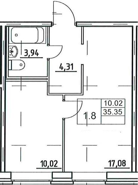 2-к.кв (евро), 35.35 м²