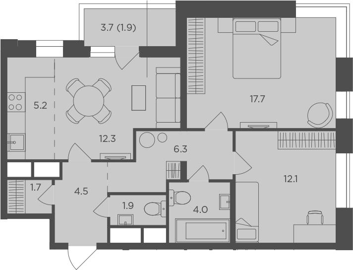 3Е-к.кв, 67.6 м²