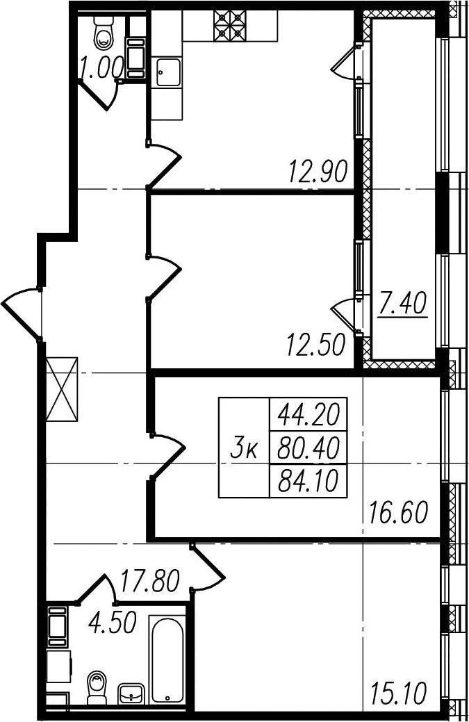 3-к.кв, 80.4 м², 7 этаж