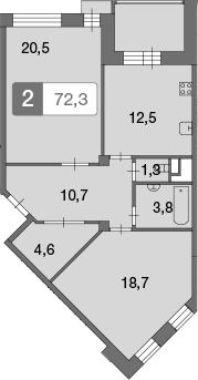 2-к.кв, 72.4 м²
