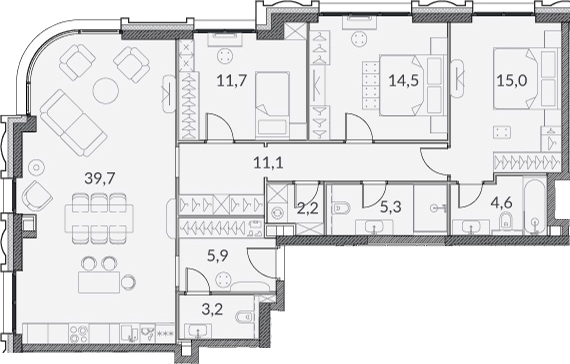 4Е-к.кв, 113.2 м²