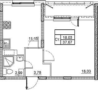 1-к.кв, 39.39 м²