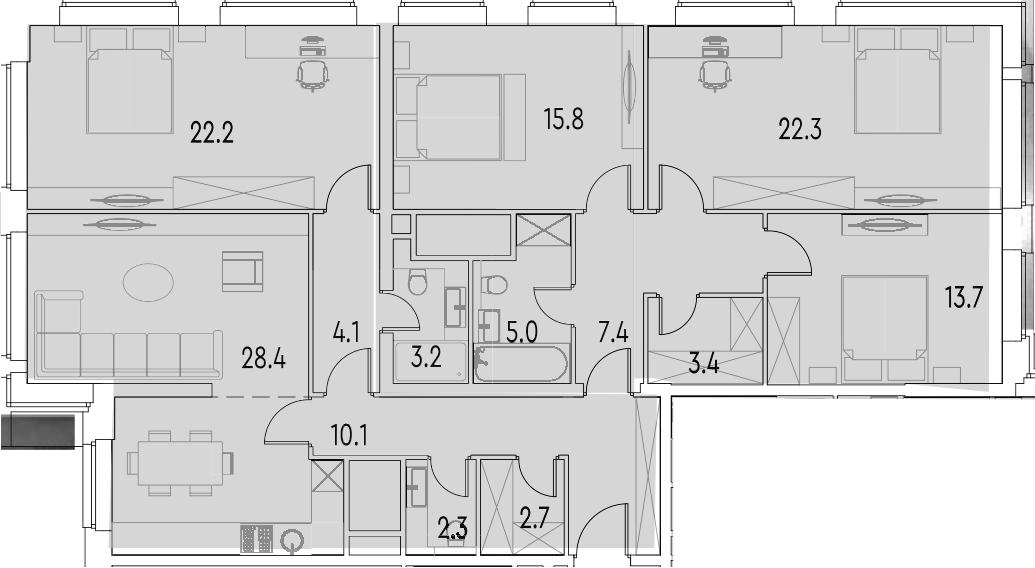 5Е-к.кв, 140.6 м²