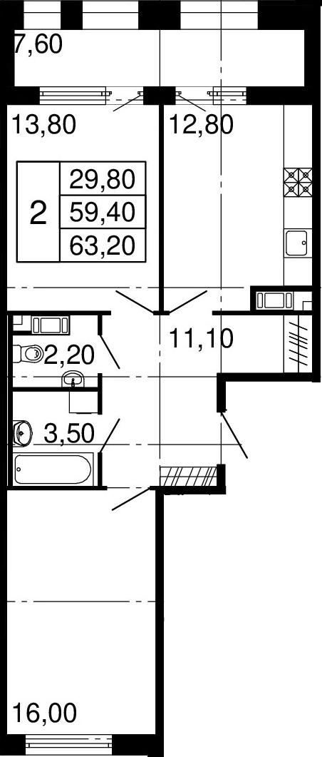 2-комнатная квартира, 59.4 м², 8 этаж – Планировка