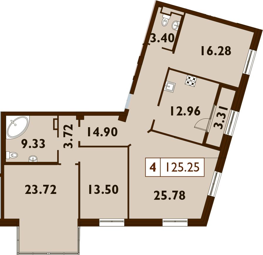 4-к.кв, 126.9 м²