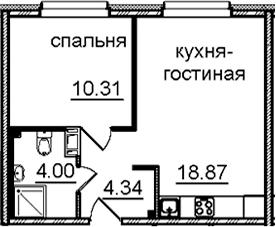 2Е-комнатная квартира, 37.52 м², 14 этаж – Планировка