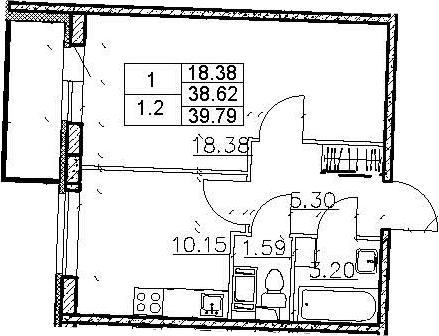 1-к.кв, 42.53 м²
