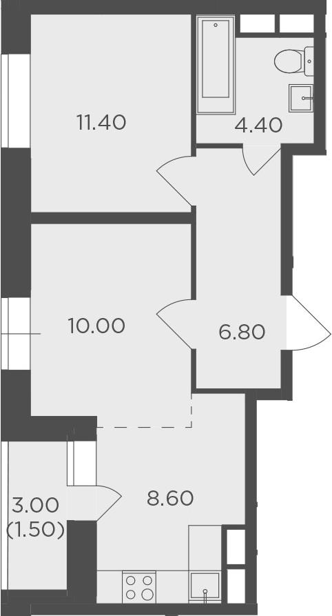 2-к.кв, 42.7 м²