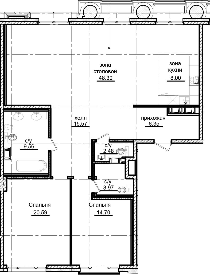 3-к.кв (евро), 129.52 м²