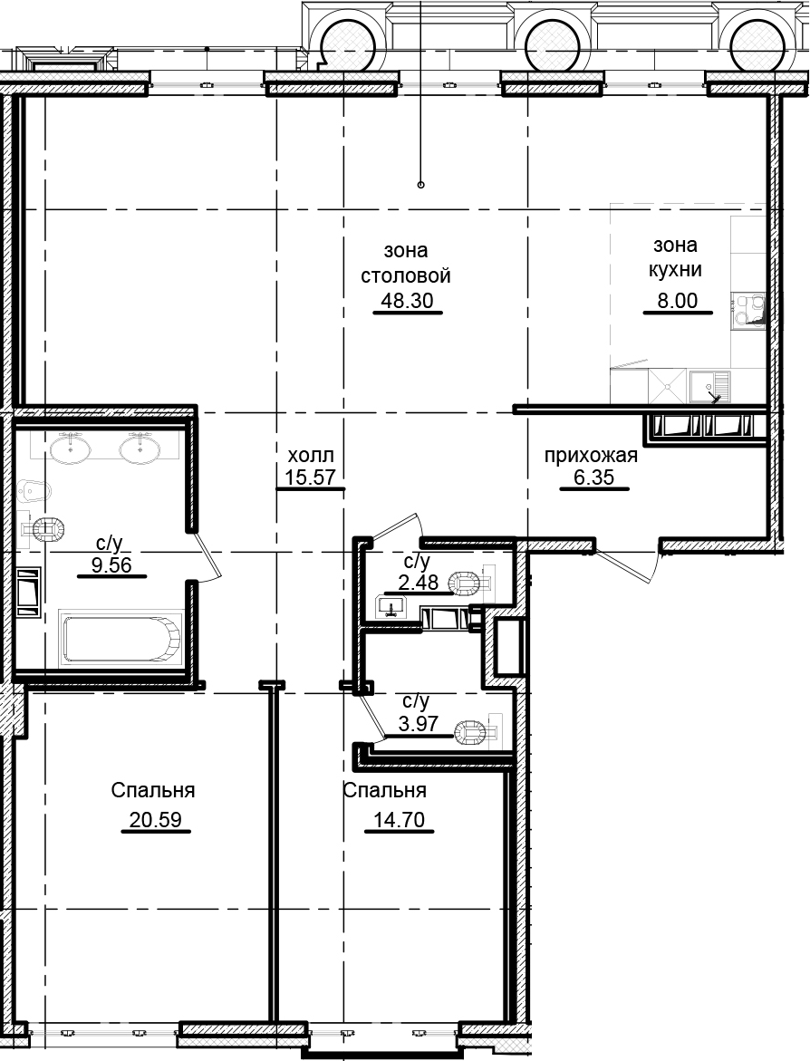 3Е-к.кв, 129.52 м²