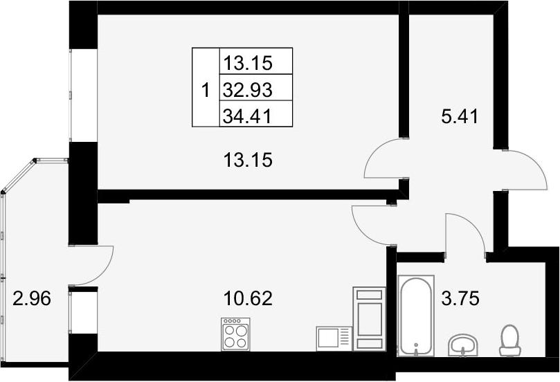 1-к.кв, 35.89 м²