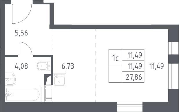 Студия, 27.86 м²– 2