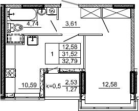 1-комнатная, 32.79 м²– 2