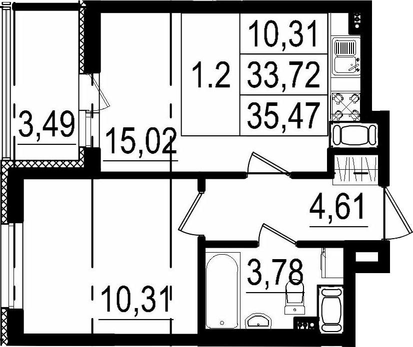2Е-к.кв, 33.72 м²