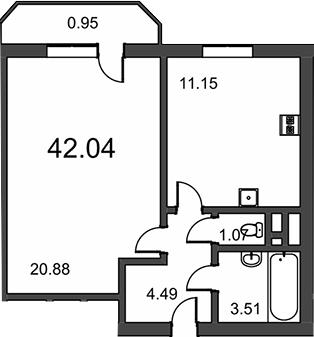 1-комнатная, 42.04 м²– 2