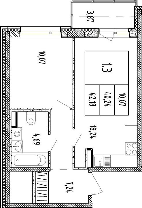 2-к.кв (евро), 44.11 м²