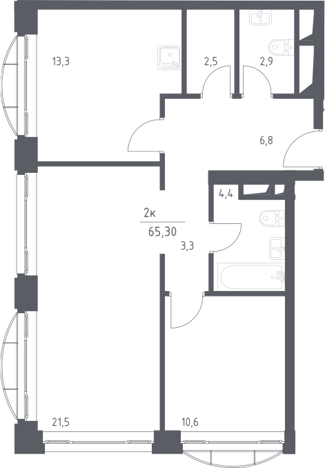 2-к.кв, 65.3 м², 11 этаж