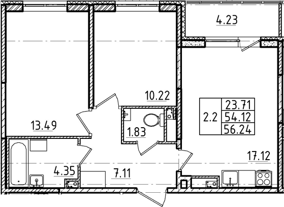 3Е-комнатная, 54.12 м²– 2