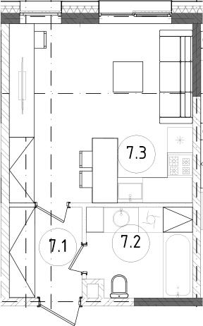 Студия, 28.11 м²