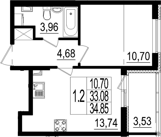 2Е-к.кв, 33.08 м²