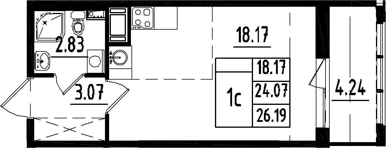 Студия, 24.07 м²