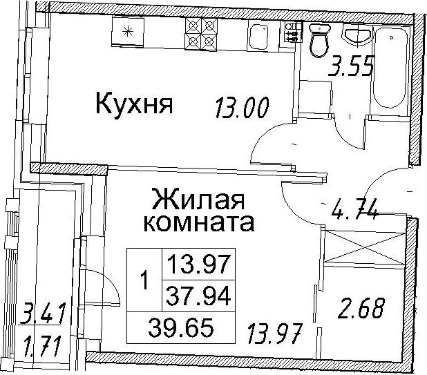 1-к.кв, 41.36 м²