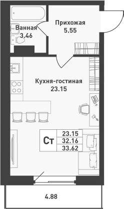 Студия, 33.62 м², от 4 этажа