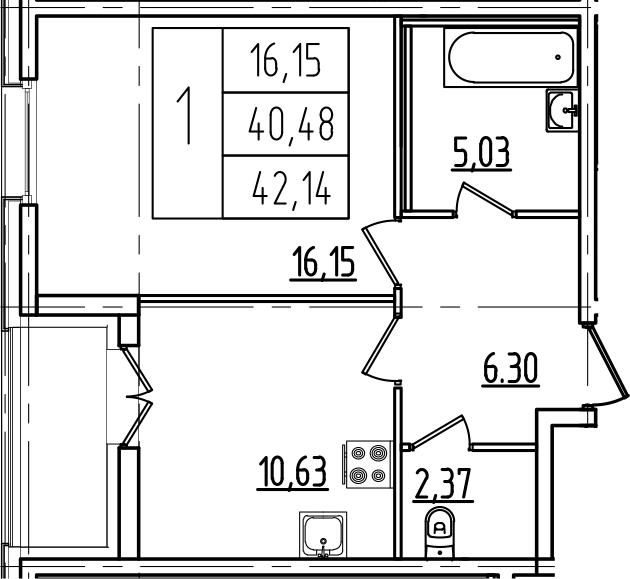 1-комнатная, 42.14 м²– 2