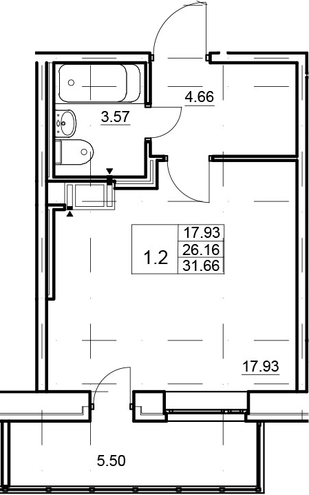 Студия, 31.66 м²