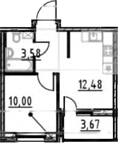 1-к.кв, 31.12 м², 17 этаж