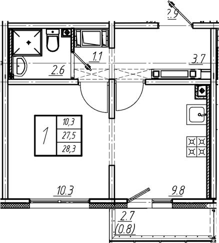 2Е-к.кв, 28.3 м², 21 этаж