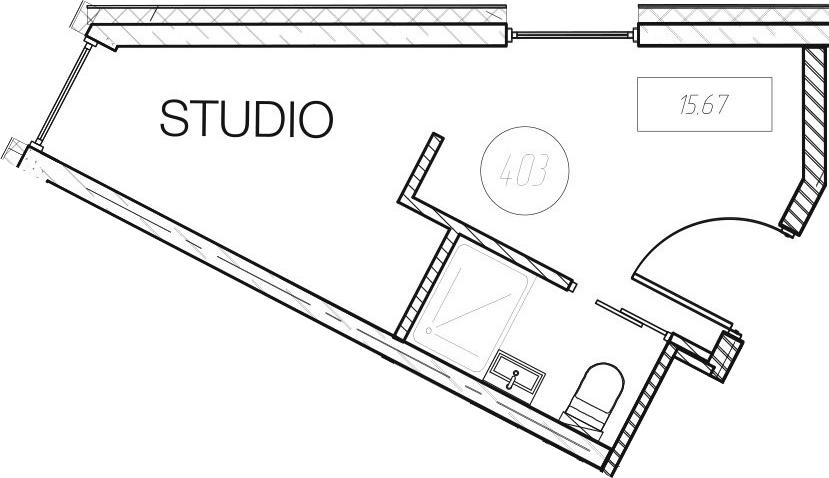Студия, 15.67 м², 8 этаж