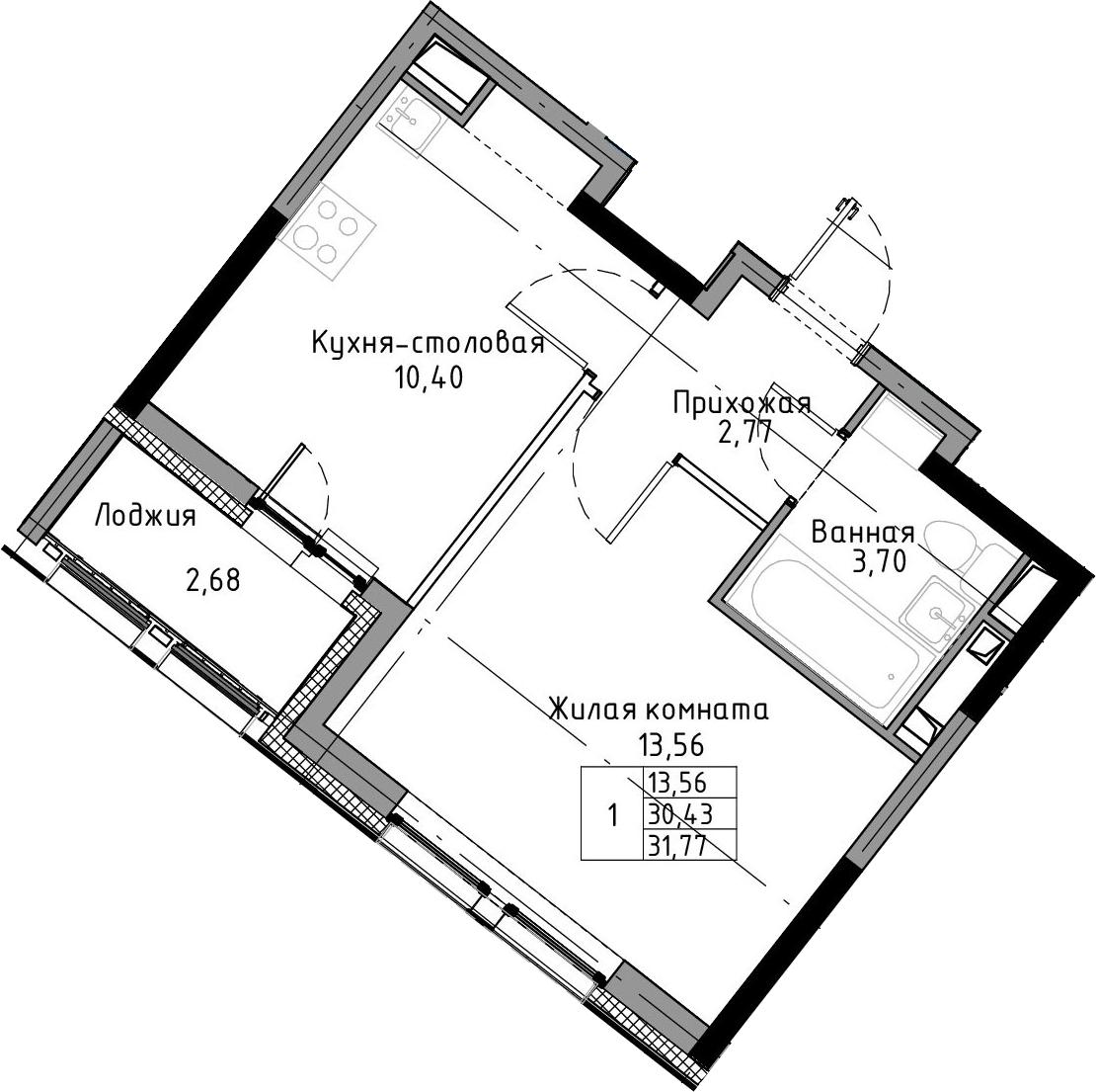1-к.кв, 31.77 м², 3 этаж
