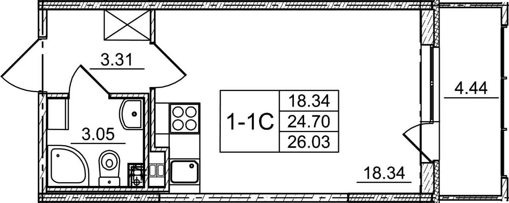 Студия, 29.14 м²